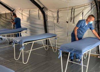 Fuerzas Militares adecuan carpas para atención médica en Cartagena